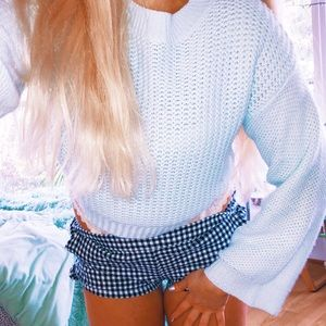 Zara Baby Blue Cropped Sweater ✨